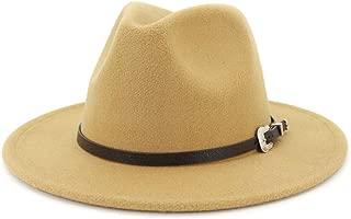 Men & Women's Classic Wide Brim Felt Fedora Panama Hat with Belt Buckle