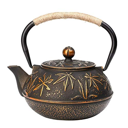 Hervidor de té de cerámica con soporte de trágico e infusor de acero inoxidable, tetera antioxidante Tetsubin para cocina eléctrica de cerámica, 900 ml donación