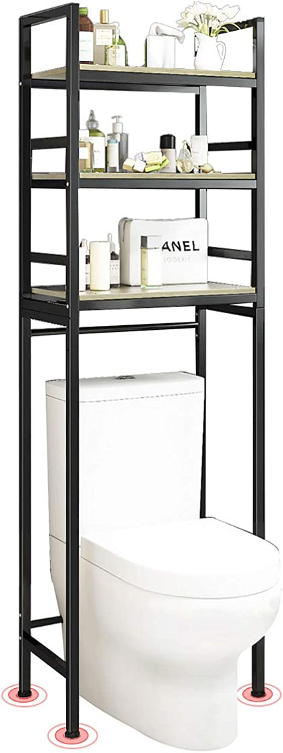 Thick Steel Material Shelving Units with Wood Board, Heavy Duty Thicken Storage Rack Over The Toilet, for Home Office Kitchen Bathroom,Black