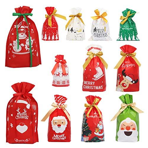 Pequeñas Bolsas de Navidad BIGKASI 54PCS Bolsas de Regalo Navideñas con Cordón, Santa Claus/Elk/Muñeco de Nieve/Bolsa de Dulces para Galletas Regalos/Joyas 3 Tamaños Diferentes (Rojo/Blanco/Verde)