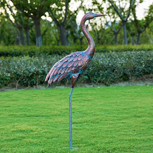 Kircust Garden Statues and Sculptures Metal Heron Decoy, Standing Patina Crane Yard Art for Outdoor Patio Lawn…