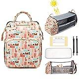 Mamimami Home Mochila para pañales con cuna de bebé, 4 en 1, mochila para pañales con gran capacidad, impermeable, bolsa para pañales con cambiador, puerto de carga USB para teléfono móvil.