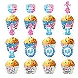 flunyina boy or girl cupcake toppers and wrapper glitter for baby shower gender reveal girl or boy