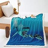 Franela Sofás Mantas Azul 150 x 200 cm Tiburón Animal Extra...