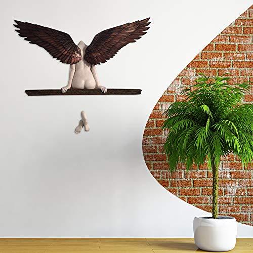 SANGSHI Engel Statuen, Engelskunstskulptur, 3D EngelsflüGel Kunst Skulptur Wanddekoration, EIN einsamer Engel, Angel Wings Wandkunst Home Decoration für Wohnzimmer Schlafzimmerdekoration