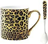 YBK Tech - Tazza da caffè in porcellana Bone China, per casa, cucina, ufficio, stampa leopardata