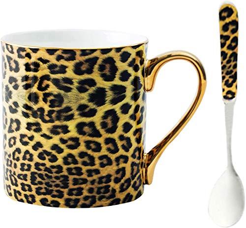 YBK Tech Kaffeetasse aus Knochenporzellan, Teetasse für Zuhause, Küche, Büro (Leoparden-Druck)