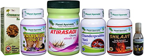 Tribulus Power Pack Special for Male Endurance - Includes Massage Oils - Ayurvedic Remedy by Planet Ayurveda (in USA)