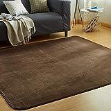 カーペット ラグ 洗える 滑り止め付 防ダニ 抗菌 防臭 135×185cm(約1.5畳) 12色選べる 1年中使えるタイプ 床暖房 ホットカーペット対応 ふわっと手触り 優しいフランネルラグ 絨毯 ムジ柄・ブラウン (VKLiving)