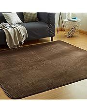 VK Living カーペット ラグ 洗える 滑り止め付 防ダニ 抗菌 防臭 200×250cm(約3畳) 12色選べる 1年中使えるタイプ 床暖房 ホットカーペット対応 ふわっと手触り 優しいフランネルラグ 絨毯 ムジ柄・ブラウン