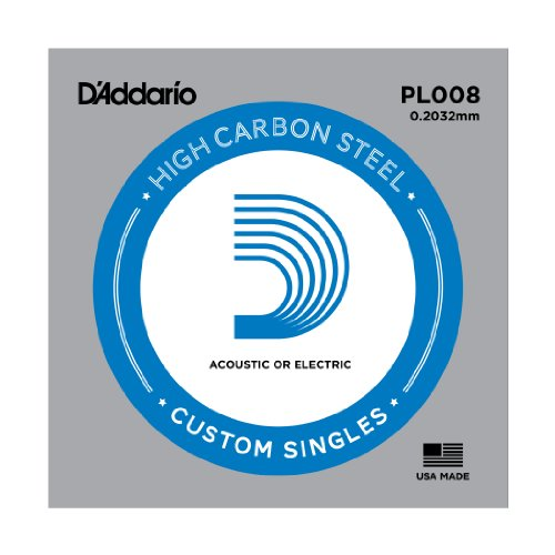 D'Addario Plain Steel .008' Guitar String (for acoustic or electric)