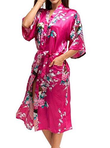 Kimono Chemise de Nuit Longue Femme Imprimé Soie Artificielle - Peignoir de Bain Femme pour Eté Automne - Rouge Rosé - Taille 2XL