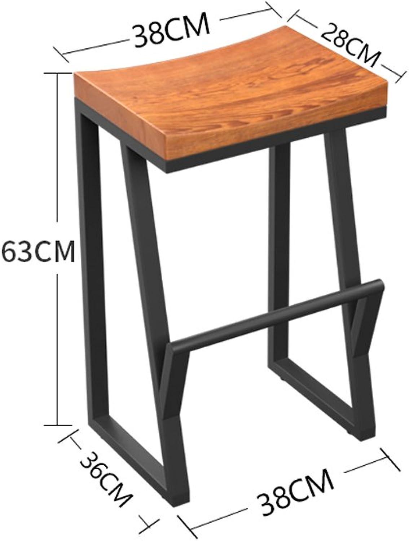Vintage Bar Iron Bar Chair Solid Wood Bar Stool Creative High Stool Bar Stool Front Desk Coffee Shop Chair ( Size   XS )