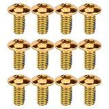 BESPORTBLE - Tornillo de bicicleta de titanio, 12 unidades, para frenos de disco, rotor, tuercas para bicicleta de montaña, color rojo, Unisex adulto, 7101601DNL, dorado, 1X0,5CM