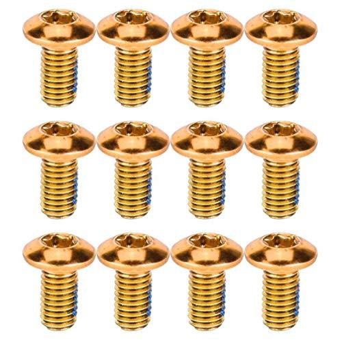 BESPORTBLE 12 Stück Titan Fahrrad Schraube Fahrrad Scheibenbremsen Rotor Schrauben Muttern für Mountainbike Fahrrad (Golden)