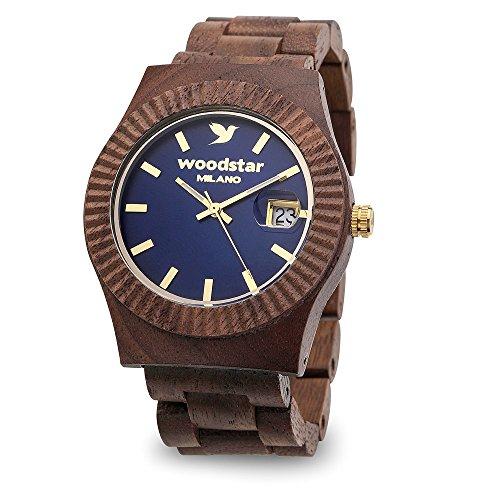 Woodstar MURA - Orologio da Uomo Donna Analogico al Quarzo con Cinturino in Legno 17-004 Blu Oro