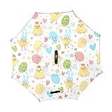 Jeansame umgekehrter Regenschirm, doppellagig, winddicht, mit C-förmigem Griff, für Auto, für Männer und Frauen, fröhliche Ostereier, Blumen, Küken, Herz, Liebe
