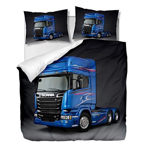 OliveSleep Truck Scania Duvet Cover Set Single Size,Quilt Cover Set,Decorative 2 Piece Bedding Set with 1 Pillowcase, (Multi 20, Single)