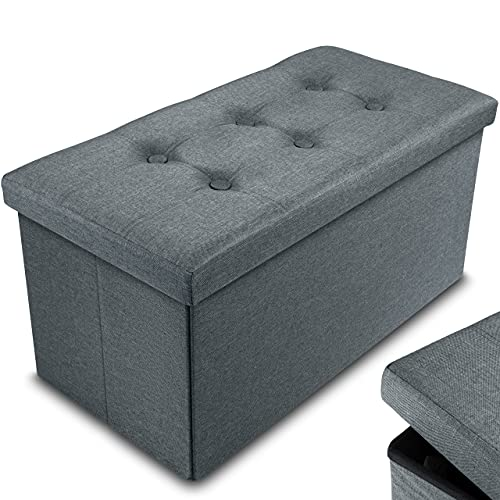 Nyxi Ottoman 76 * 38 * 38cm Foldable Storage Boxes Seat Foot Stool Storage Box with Lids for Kids Toys, Bedroom, Hallway, Living Room Dark Gray (76 * 38 * 38cm (Double))