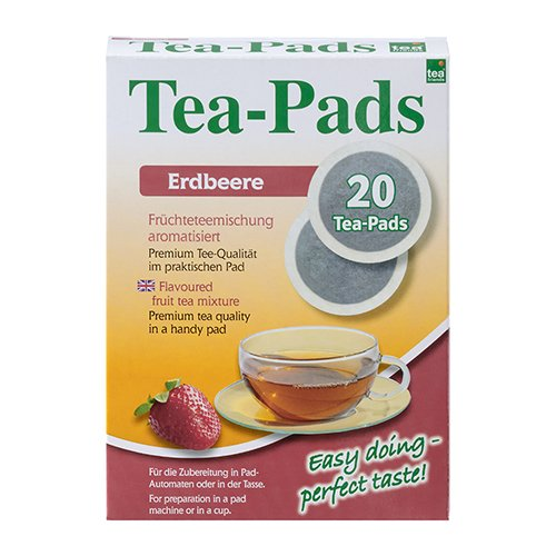 10 Packungen mit je 20 Tea Pads Früchtetee Erdbeere für Pad und Siebträgermaschinen von Tea Friends