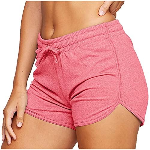 Vialogry Pantalones cortos de entrenamiento para mujer, de color sólido con cordón