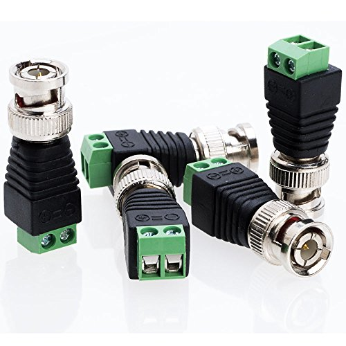 BNC Male Balun Connector Adapter for Coax CAT5 to CCTV Surveillance Video Camera - Choose a Pack of 10/20/30/50/100 Units (10)
