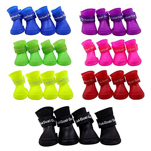4pcs chiens d'animaux de compagnie imperméables bottes d'intérieur chaussures de pluie de protection en silicone mignon antidérapante antidérapante confortable bottes de pluie antidérapante sale