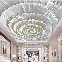 Ljjlm カスタマイズされた大規模な壁画ヨーロッパの光の豪華な金箔ステレオ花モダンなリビングルームの天井の背景の壁-160X120Cm