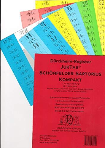 DürckheimRegister SCHÖNFELDER + SARTORIUS KOMPAKT (2020) Gesetze und §§: 200 Registeretiketten (sog. Griffregister) für SCHÖNFELDER und SARTORIUS, ... der wichtigsten Gesetze und Paragrafen