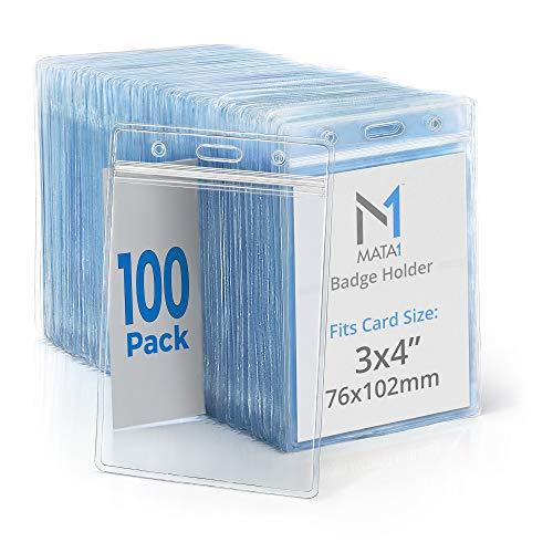 Mata1 Vertical ID Name Badge Holder (Clear, 3x4 Inch (L), 100 Pack), Plastic Nametag Card Holders with Zipper