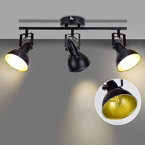 popular DLLT Ceiling Spotlight Fixture,3-Light Directional Track Lighting, Flush Mount 2021 Tracking Light Kit for Kitchen, Dining Room, Bedroom, Office, Living Room, popular Closet Room, Black, E12 Base online sale