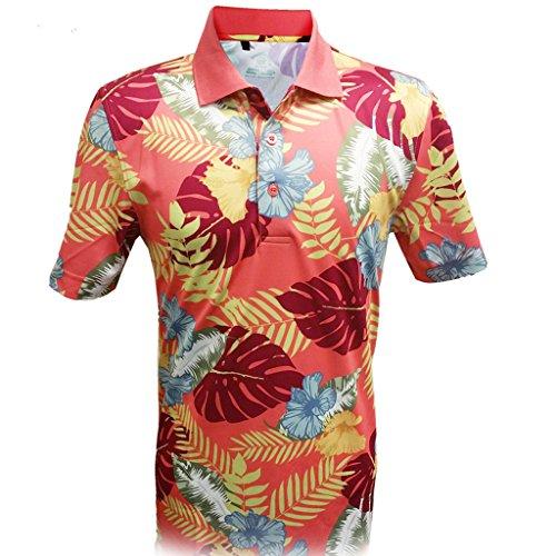 Monterey Club Mens Dry Swing Wooden Hawaiian Print Polo Shirt #1535 (Brick, X-Large)