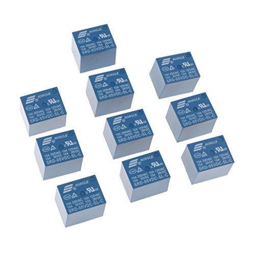 10 Piezas SRD-05VDC-SL-C DC 5V Clasificación Bobina SPDT Miniatura Relé De Potencia Azul