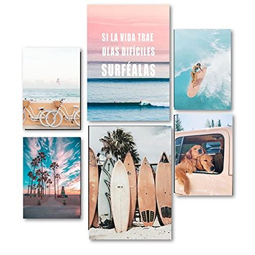 Láminas CON o SIN MARCO incluido. Surf. 2 x DIN A3 y 4 x DINA A4. Marco blanco, negro o haya natural. Decoración salón, pasillo, comedor, habitación. Modelo Can (LÁMINAS SIN MARCO)