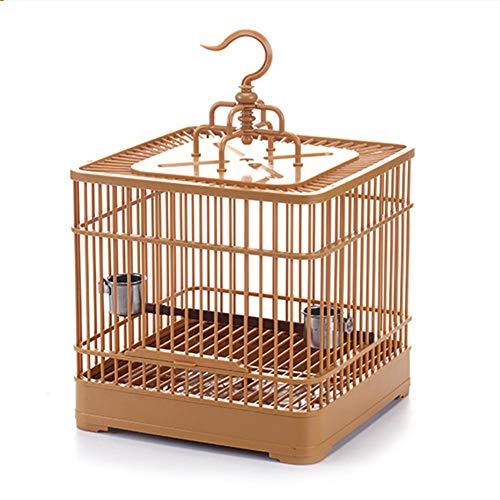 Kitabetty Vogelkäfig,Wellensittichkäfig, Vogelkäfig im Freien, Mini hängendes Vogelhaus-atmungsaktiver Retro- quadratischer Vogelträger-Papageien-Reise-Käfig-Vogel-Fütterungskäfig für kleine Vögel