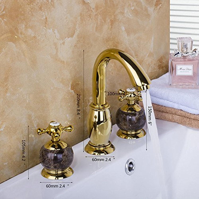 CZOOR Jade Becken MixerGolden verchromt Bad Armatur Jade Wasserhahn Krper 3er Set Golden polnischen Badewanne Dusche Waschtisch Armatur Wasserhahn Tippen