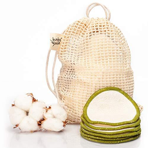 Pack de 6 tampons nettoyants ou démaquillants écologiques en bambou | tampons cosmétiques avec sac de transport pour le nettoyage du visage, démaquillant. Lingettes nettoyantes