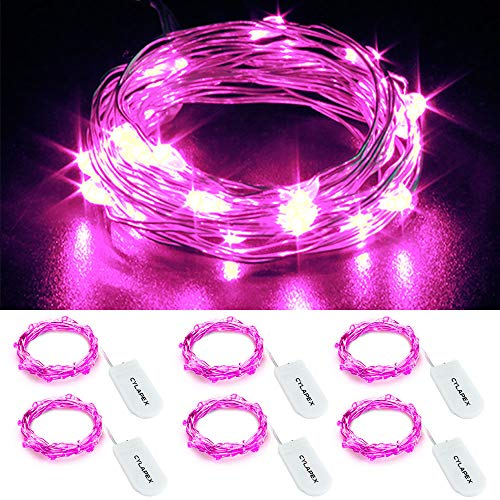 CYLAPEX 6 Pack Pink Fairy String Lights Battery Operated Fairy Lights Firefly Lights Micro LED Starry String Lights on 3.3ft/1m Silvery Copper Wire for DIY Christmas Decoration Costume Wedding Party