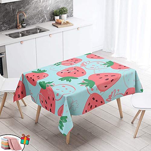 Morbuy Nappe Anti Tache Rectangulaire,Imperméable Étanche à l'huile 3D Imprimé Carrée Couverture de Table Lavable pour Ménage Cuisine Jardin Picnic Exterieur (Rose Fraise,140x220cm)