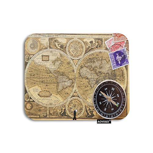AOYEGO World Map Mouse Pad Vintage Postcard Compass Nautical Travel Trip Gaming Mousepad Rubber Large Pad Non-Slip for Computer Laptop Office Work Desk 9.5x7.9 Inch