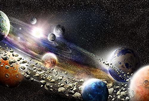 Fondo de fotografía Cielo Estrellado Luna Noche Brillo Brillante Planeta Tierra Universo Fondo de fotófono Estudio fotográfico A2 10x7ft / 3x2.2m