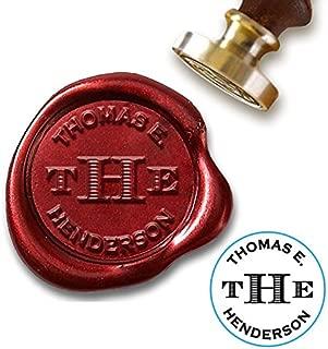 "Custom Wax Seal Stamp Kit with Sealing Wax-1"" Die-3 Initial Monogram with Name"