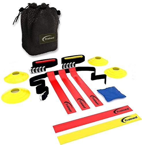 FLAG FOOTBALL SET By Trained,10 man Set ,Premium Football Gear , Flags, Belts, eBook & More, Bonus: Stylish Carry Bag (Durable Nylon)