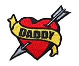 Tattoo Art Heart Arrow Name Embroidered Iron On Applique Patch - Daddy