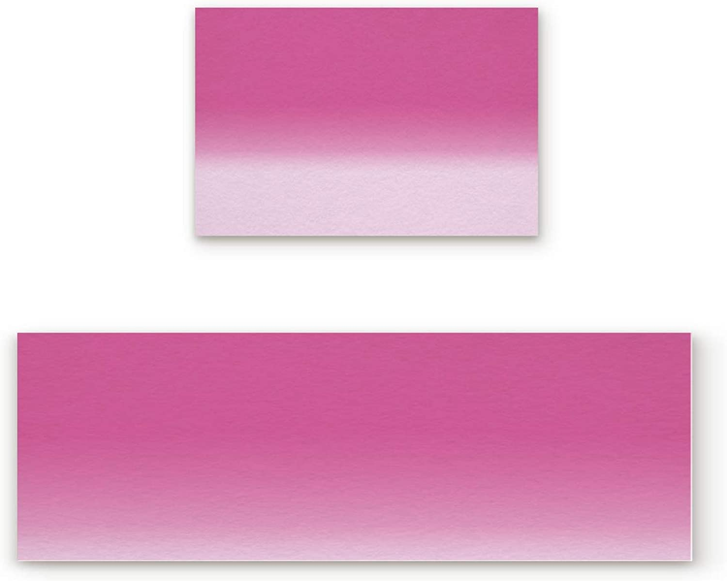 Aomike 2 Piece Non-Slip Kitchen Mat Rubber Backing Doormat Gradient Pink and pink Red Runner Rug Set, Hallway Living Room Balcony Bathroom Carpet Sets (23.6  x 35.4 +23.6  x 70.9 )
