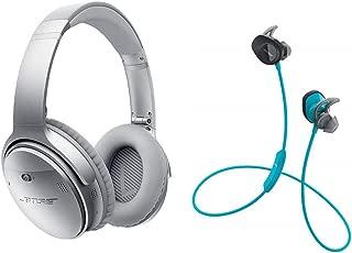 Bose QuietComfort 35 Series II Silver Noise Cancelling Headphones & Bose SoundSport Wireless Aqua Bundle