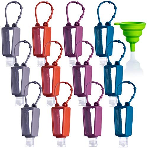 ST Premium 12 PACK Mixed EMPTY Refillable Mini Travel Hand Sanitizer Holder Keychain Squeeze Bottles - Empty Sanitizer Bottles Silicone Holder (30mL 1 fl Oz) Mini Size | TRENDY PACK - BPA FREE