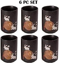 Oriental Japanese Sushi Restaurant Style Tea Mugs Porcelain 10 fl oz Ceramic Tea Cup Set Pack of 6 (Moon Rabbit)