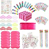 Spa Party Supplies for Girls with 120PCS Multiple Kids Spa Party Favors 12 Bags 12 Body Jewels 12 Colored Hair Clip Braids 12 Tattoos 12 Pink Spa Eye Masks 24 Toe Separators 12 Emery Boards 12 Crown Hair Fringe Stickers 12 Girls Nail Decal Sets for Birthday Gifts For Girl Kids Party Favors
