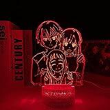 Luz noche 3D Lámpara ilusión mesa Led Base lava Anime Sword Art Online decoración dormitorio Sao Kirigaya Kazuto Yuuki Una -7 colores sin control remoto